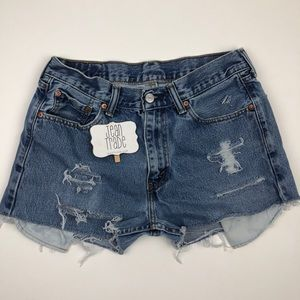 Levi's High Rise Distressed Cut-Off Jean Shorts